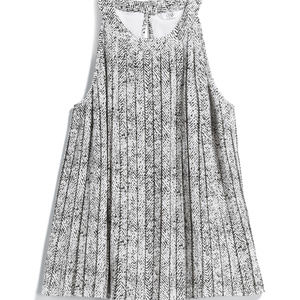 Q&A Claire pleated halter, Large, Black and White